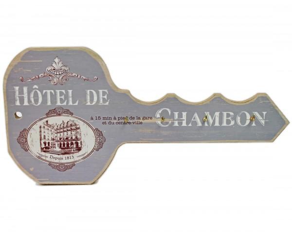 """Vintage Schlüsselbrett """"Hotel de Chambon"""" - grau/weiß/braun - in Schlüssel-Optik aus Holz"""