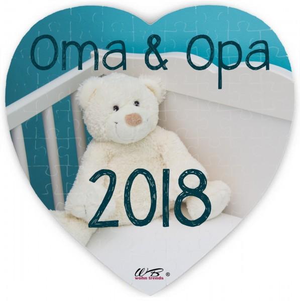 Puzzle-Botschaft Herz ~ Oma & Opa 2018 - Teddy ~ 75 Teile 19x19cm inkl. Geschenk-Beutel ~ WB wohn trends®