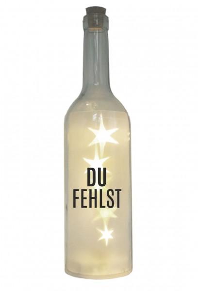 LED-Flasche mit Motiv, Du fehlst, grau, 29cm, Flaschen-Licht Lampe mit Text Spruch Trauer-Licht
