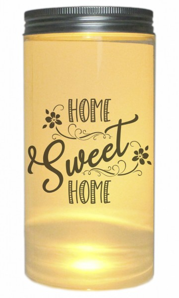 LED-Licht Home Sweet Home - Zuhause Heim Haus, 14x7cm Dose mit Deckel Leuchte LED-Lampe mit Text Spruch