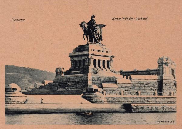 Postkarte, Deutsches Eck Koblenz Coblenz Nostalgie-Karte, Kaiser Wilhelm Preußen Vintage Karton braun 10,5x14,8cm A6