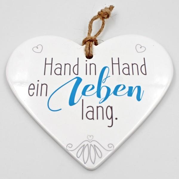 Keramik Herz ~ Hand in Hand ein Leben lang ~ zum Hängen und Legen ~ ca 15cm