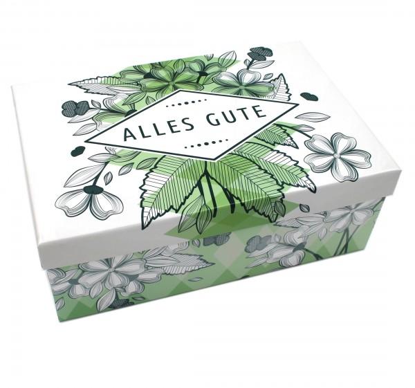Geschenkbox ~ ALLES GUTE - Blätter Blüten grün weiß ~ 21,5x12,5x8cm ~ 30792 ~ Kiste Box aus Pappe