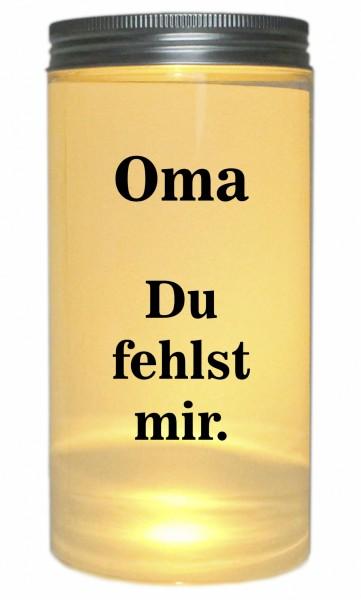 LED-Licht Oma Du fehlst mir. Trauer-Licht, 14x7cm Dose mit Deckel Leuchte LED-Lampe mit Text Spruch