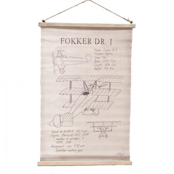 Bild, Jutestoff mit Aufdruck, FOKKER DR. I FLUGZEUG, 80 x 52 cm, Nostalgie Wandbild Rolle zum Hängen