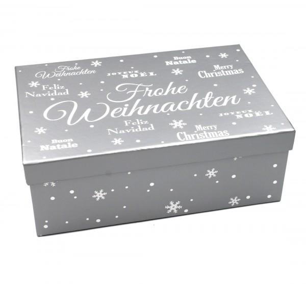 Geschenkbox ~ Frohe Weihnachten - silber ~ Größe&Farbe wählbar ~ 23,5x15x8,5cm ~ 437828 ~ Kiste Box aus Pappe