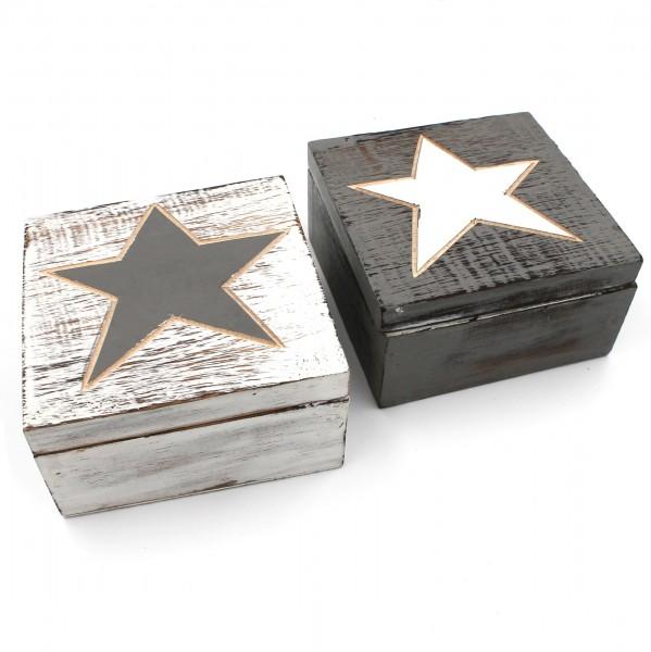 2er Set, kleine Kisten aus Holz, grau weiß Stern, 12x12x6cm, rustikal shabby Box Kiste für Schmuck Uhren
