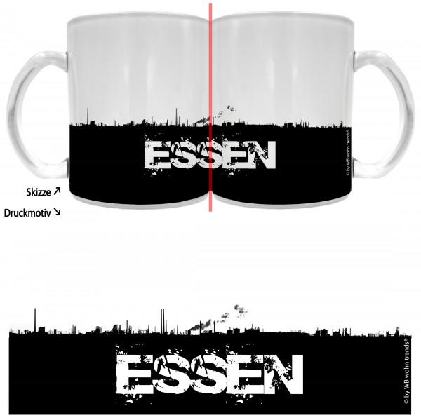 Tee-Glas mit rundum Motiv: ESSEN Skyline, Farbe: Milchglas, Kaffee-Tasse mit Motiv