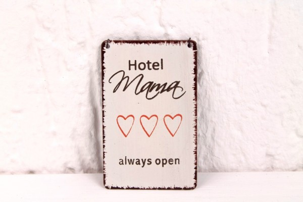 Magnet mit Motiv - HOTEL MAMA always open - Blech Schild