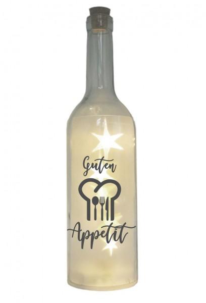 LED-Flasche mit Motiv, Guten Appetit, grau, 29cm, Flaschen-Licht Lampe mit Text Spruch Besteck Küche Koch-Mütze