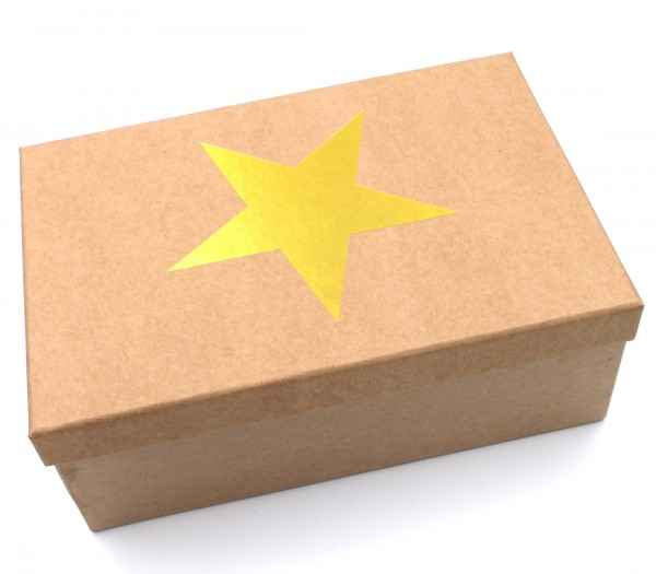 Geschenkbox Weihnachten, GOLD, Stern mit Metallic-Effekt, Karton in natur-Optik, 28,5x20x10cm, 55992, Größe&Farbe wählbar, Kiste Box aus Pappe