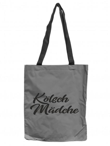 Reflektor-Tasche Kölsch Mädche Köln, grau-silber REFLEKTIERT! Einkaufs-Beutel mit Innentasche, Einkaufstasche Tragetasche Shopper Shopping-Bag