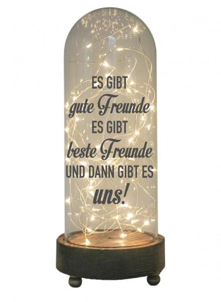 LED-Glaskuppel XXL mit Motiv, Es gibt gute beste Freunde und uns, grau, 29cm, Glas-Licht Lampe mit Text Spruch