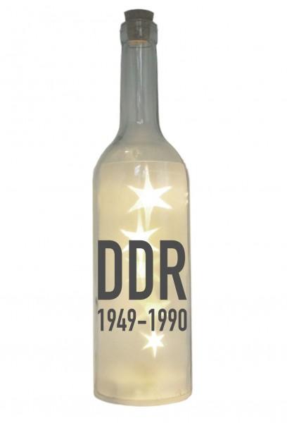 LED-Flasche mit Motiv, DDR 1949 bis 1990, grau, 29cm, Flaschen-Licht Lampe mit Text Spruch Stadt