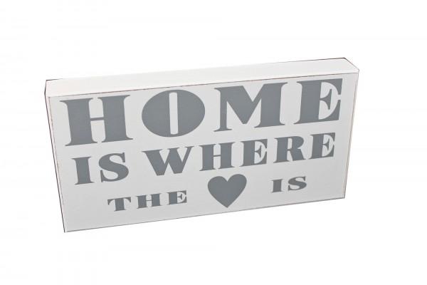 Deko Schild zum Stellen & Hängen aus Holz, weiß, HOME IST WHERE THE HEART/LOVE IS