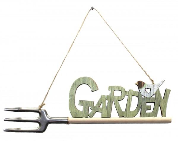 Süßer Deko-Hänger aus Holz, Garden + Vogel, grün, 27x9cm