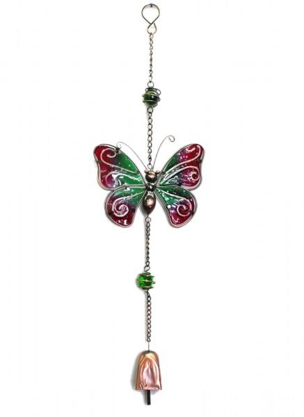 Schmetterling, Deko aus Metall zum Hängen, pink grün, mit Leucht-Glas und Glocke, ca 55cm