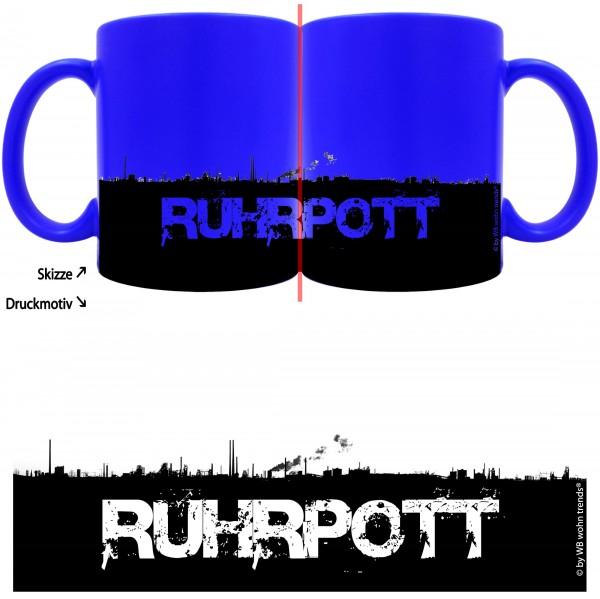 knallige Tasse mit rundum Motiv: RUHRPOTT Skyline ~ Farbe: neon-blau ~ Kaffee-Becher mit Motiv