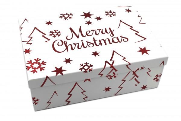 Geschenk-Box weiß ROT, Merry Christmas mit Metallic-Effekt, 26x18x9,5cm, 579, Größe&Farbe wählbar, Weihnachten Kiste Karton aus Pappe