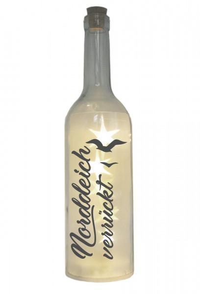 LED-Flasche mit Motiv, Norddeich verrückt mit Möwen, grau, 29cm, Flaschen-Licht Lampe mit Text Spruch