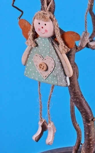 Deko Hänger - Schutzengel - blau - aus Holz 18cm - Engel Geschenk