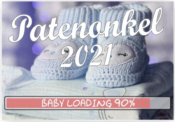Puzzle-Botschaft eckig, Patenonkel 2021 / Junge blaue Baby-Schuhe, 120 Teile 27x18cm inkl. Geschenk-Beutel