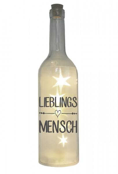 LED-Flasche mit Motiv, Lieblingsmensch, grau, 29cm, Flaschen-Licht Lampe mit Text Spruch