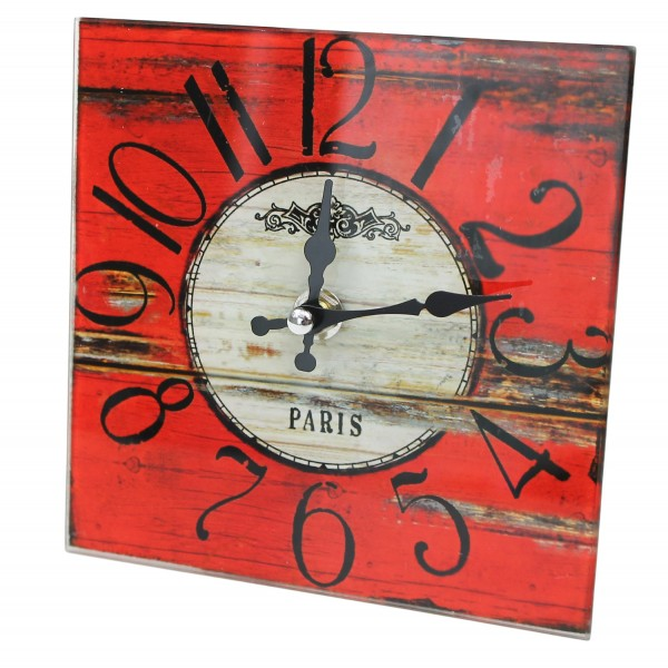 Wanduhr aus Glas zum stellen ~ Paris ~ 15 x 15 cm ~ rot weiß holz ~ Shabby Vintage Uhr