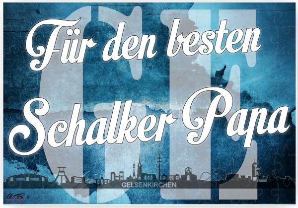 Puzzle-Botschaft eckig ~ Für den besten Schalker Papa - Gelsenkirchen ~ 120 Teile 27x18cm inkl. Geschenk-Beutel ~ WB woh