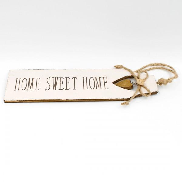 Kleines Schild HOME SWEET HOME zum Hängen an die Tür oder Wand, aus Holz, weiß-grau, 22 x 6 cm