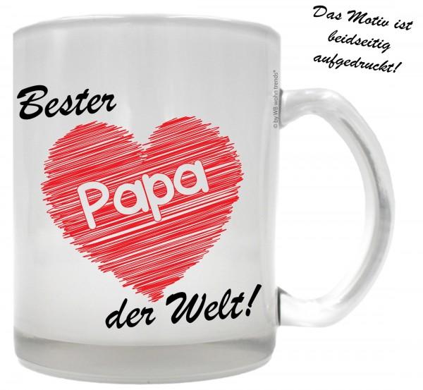 Tee-Glas mit beidseitigem Motiv, Bester Papa der Welt, Farbe: Milchglas, Kaffee-Tasse mit Motiv