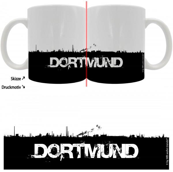 Tasse mit rundum Motiv: DORTMUND Skyline, Farbe: weiß, Kaffee-Becher mit Motiv
