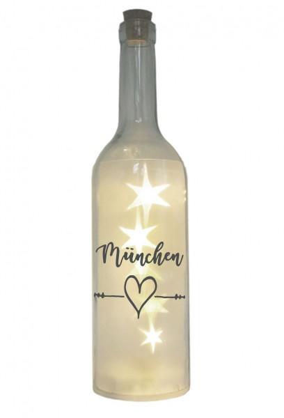 LED-Flasche mit Motiv, München Herz, grau, 29cm, Flaschen-Licht Lampe mit Text Spruch Stadt