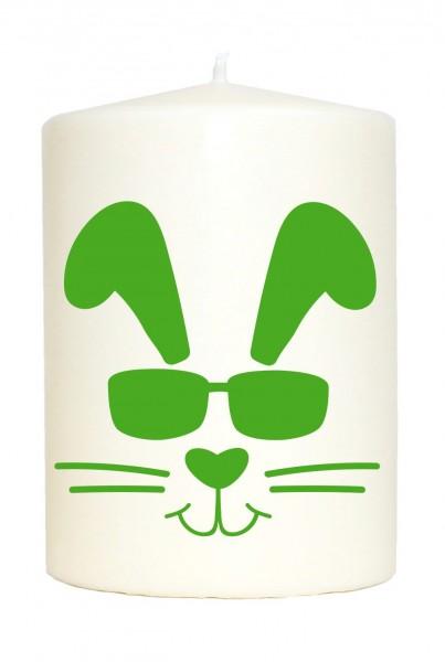 Kleine Spruchkerze weiß, Cooler Oster-Hase Frohe Ostern, Aufdruck grün, 10x7cm, Kerze mit Spruch Motiv-Kerze