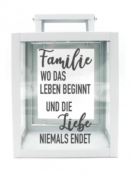 Metall-Laterne Familie wo das Leben beginnt - Liebe niemals endet weiß 25x18x13cm für LED-Kerzen