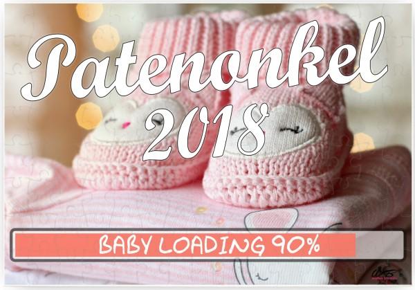 Puzzle-Botschaft eckig ~ Patenonkel 2018 / Mädchen rosa Baby-Schuhe ~ 120 Teile 27x18cm inkl. Geschenk-Beutel ~ WB wohn