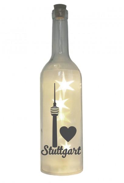 LED-Flasche mit Motiv, Stuttgart Fernsehturm Herz, grau, 29cm, Flaschen-Licht Lampe mit Text Spruch