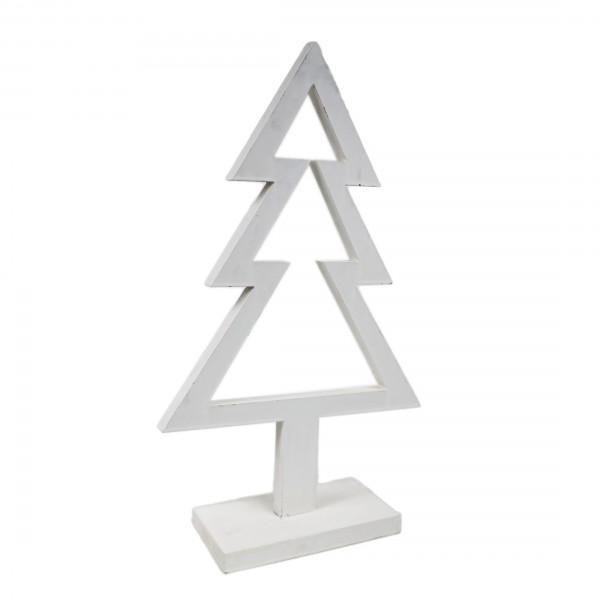 Deko Tanne, weiß - Weihnachtsbaum - aus Holz, ca 51cm hoch