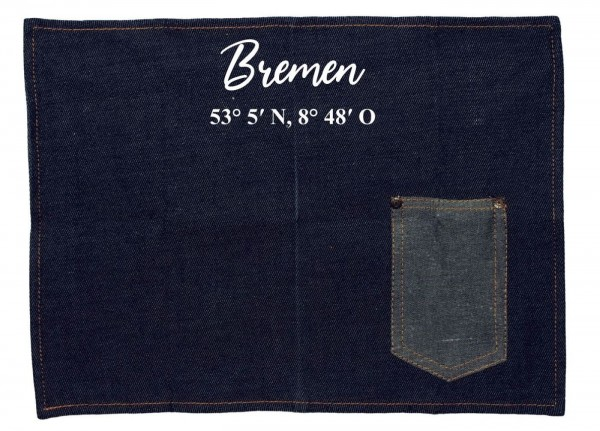 Platzset Jeans-Stoff, Bremen mit Koordinaten, mit Tasche für Messer und Gabel 40x30cm blau weiß Textil-Untersetzer Tisch-Set
