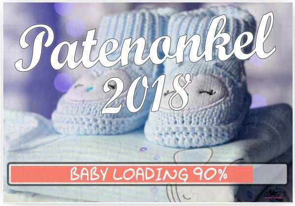 Puzzle-Botschaft eckig ~ Patenonkel 2018 / Junge blaue Baby-Schuhe ~ 120 Teile 27x18cm inkl. Geschenk-Beutel ~ WB wohn t