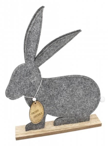 Oster-Hase aus Filz auf Holz-Platte, Größe L 60x47x7cm, Größenauswahl möglich, Frohe Ostern Oster-Deko Figur