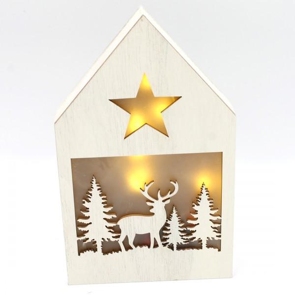 Dekohaus mit LED ~ Ein Elch, hell ~ leuchtende Weihnachts-Deko aus Holz ~ 21 x 13 x 3 cm