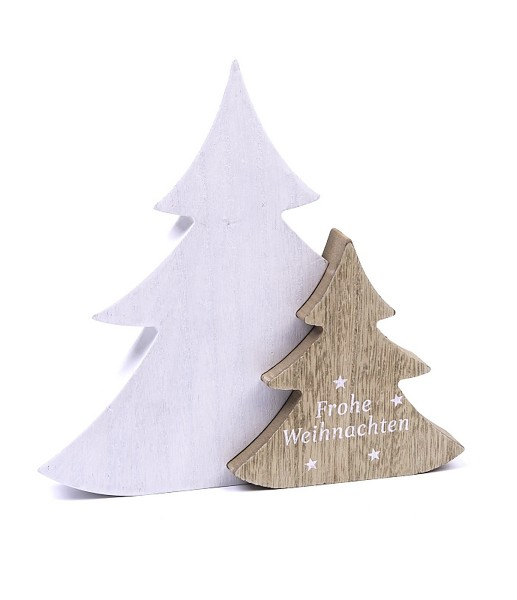 Deko-Figur aus Holz 3D Weihnachts-Baum Tanne Frohe Weihnachten, weiß natur, 19,5x19,5x2,5cm Weihnachts-Deko Weihnachten