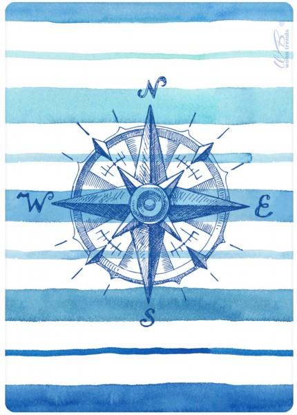 Holz-Postkarte, Nostalgischer Kompass maritim blau weiss, Holz-Schild Wand-Bild Deko-Schild 15x10cm