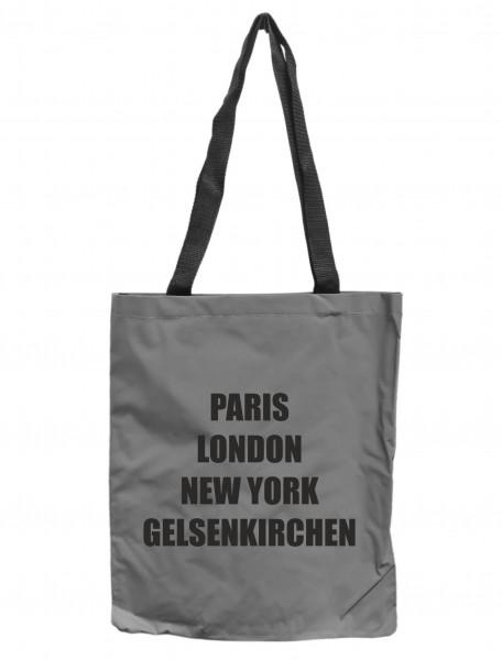 Reflektor-Tasche Gelsenkirchen - Paris London New York, grau-silber REFLEKTIERT! Einkaufs-Beutel mit Innentasche, Einkaufstasche Tragetasche Shopper Shopping-Bag Ruhrpott
