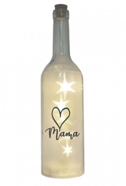 LED-Flasche mit Motiv, Herz Mama, grau, 29cm, Flaschen-Licht Lampe mit Text Spruch