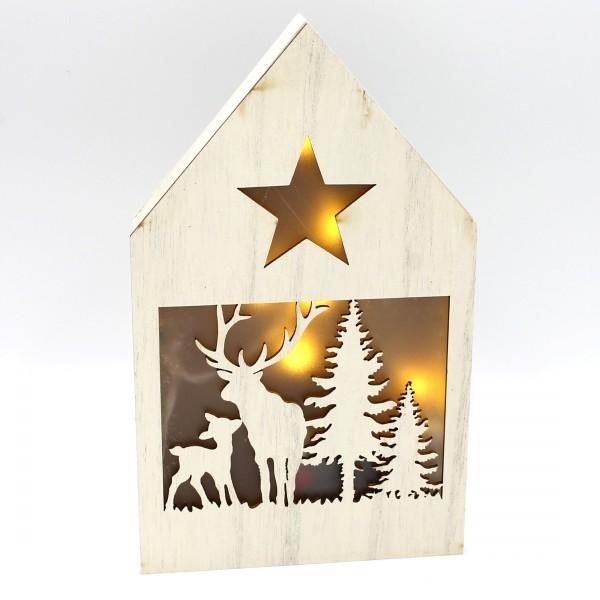 Dekohaus mit LED, Zwei Elche, hell, leuchtende Weihnachts-Deko aus Holz, 21 x 13 x 3 cm