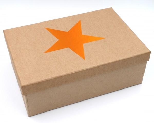 Geschenkbox Weihnachten, KUPFER, Stern mit Metallic-Effekt, Karton in natur-Optik, 23,5x15x8,5cm, 35992, Größe&Farbe wählbar, Kiste Box aus Pappe