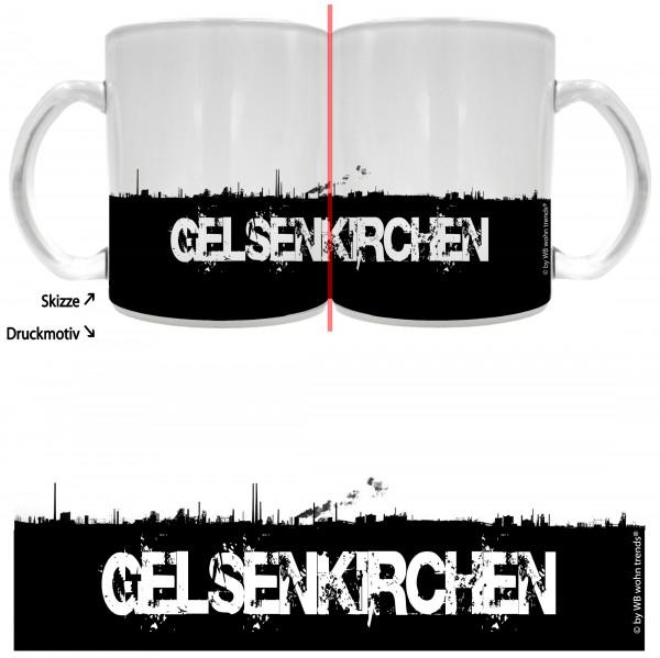 Tee-Glas mit rundum Motiv: GELSENKIRCHEN Skyline, Farbe: Milchglas, Kaffee-Tasse mit Motiv