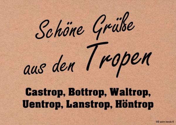 Postkarte, Schöne Grüße aus den Tropen, Castrop Bottrop Ruhrpott Ruhrgebiet Vintage Karton braun 10,5x14,8cm A6